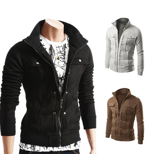 Men Zipper Jackets Pocket Sweatshirts Tracksuit Moleton Masculina Zipper Fashion Men Fleece Hoodies 10Pcs hot CNY734