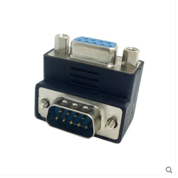 90 degree down Angled RS232 D-Sub 9Pin Male screw type To Female Nut type extension Adapter