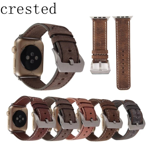CRESTED Genuine Leather watch band iwatch series 3/2/1 42mm/38mm replacement bracelet wrist watchband