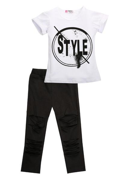 2 Adet Bebek Kız Setleri Giysileri 2 adet Mektup Baskı Kıyafetler T-shirt + Legging Pantolon Set Çocuk Çocuk Giysileri Yaz