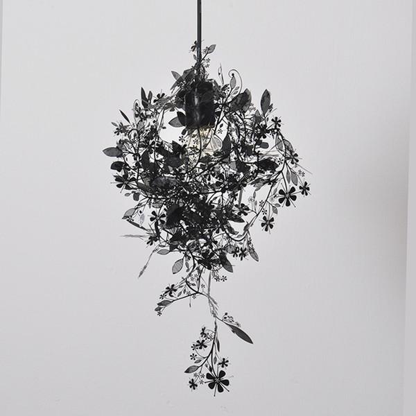 Lámpara colgante de flores Negro / Blanco / Dorado / Plata colores Garland Light colgante ligero diseño moderno Láser E049 628
