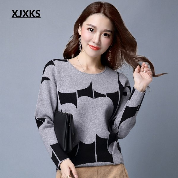 XJXKS Autumn Pullover Sweater Women Fashion Long Sleeve O Neck Cashmere  Pullover Short Sweaters Slim Knit dcc701fc2