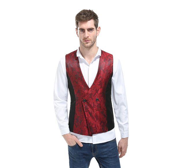MIXCUBIC 2018 printemps Angleterre style unique motif Obscure Splice gilet hommes casual Slim Coudre Gilet pour hommes M-XXL