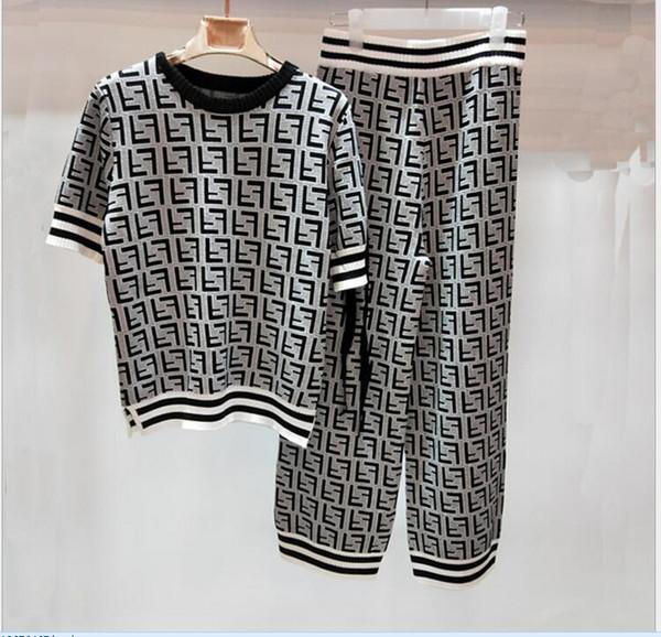 2018 runway Sandy beach holiday Crew neck Short sleeve Print Ribbon F Letter Women's Two Piece Pants