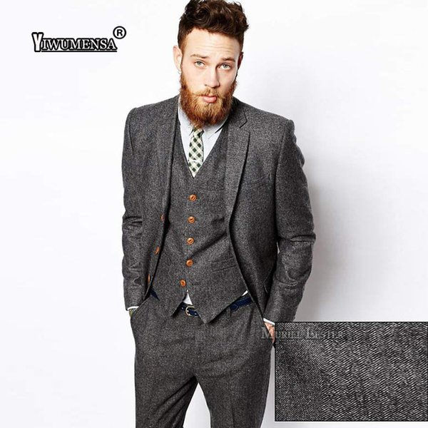 yiwumensa New Latest Coat Pant Designs Mens Suits Tweed Herringbone Wedding Suits For Men Tuxedo Suits Grey/Brown Suit men 2017 S18101903