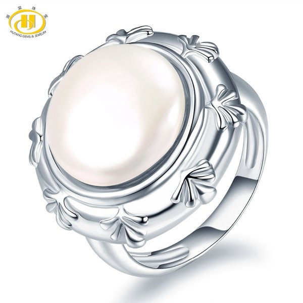 Hutang Pearl Jewelry 100% Natural Freshwater Pearl Ring 925 Sterling Silver Coin-Shape Pearls Fine Fashion Jewelry Xmas Gift New Y1892705