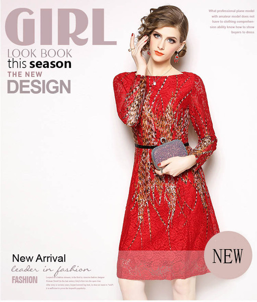 Fashionable Women's Beauty Lace Dresses,Nice Autumn and Winter Printing Lace Panelled Dress,Long Sleeve,Crew Neck