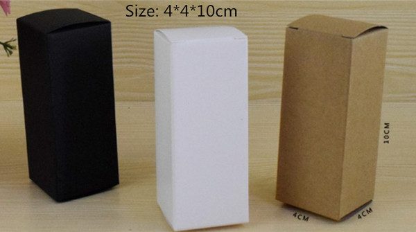 50pcs 4*4*10cm Brown/White/Black blank Kraft Paper Box for Cosmetic valves tubes Craft Candle Gift Packing Boxes