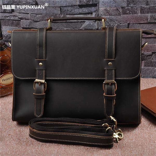 "YUPINXUAN Branded Genuine Leather Men Briefcase Cowhide Male Messenger Bag 12"" Laptop Business Bag Luxury Lawyer Handbag Maletin"