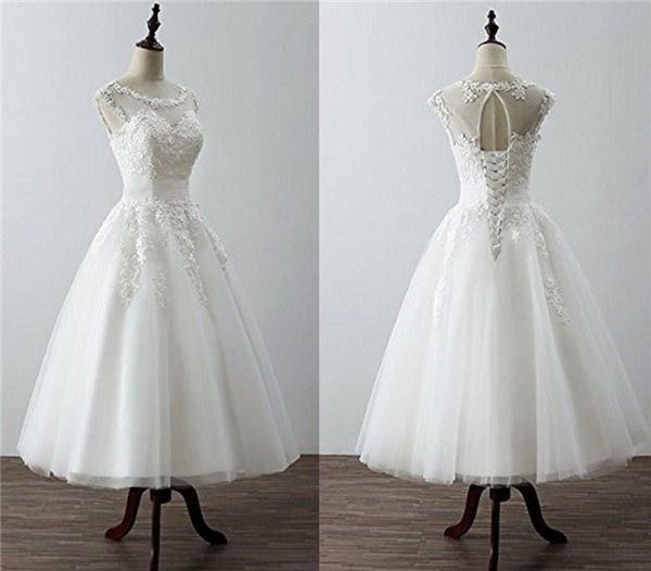 Tea Length Short Beach Wedding Dress Cheap Sheer Neck With lace Applique Cap Sleeves Corset Back Tulle Country Style Wedding Gowns