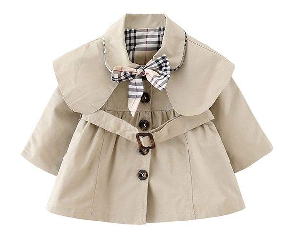 Baby Mädchen Trenchcoat Mit Fliege und Gürtel Herbst Frühling Mode Wind Proof Jacke Winter Mit Kapuze Cape Cloak