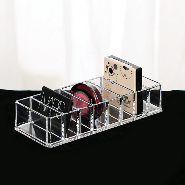 Fashion Clear Acrylic 8 Slots Cosmetic Organizer Powder Storage Box Household Women Makeup Tool Case Cosmetic Storage Container