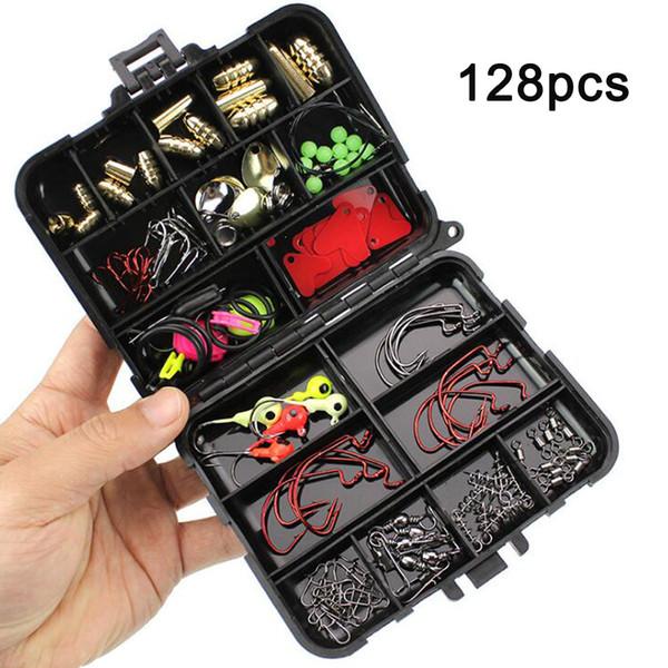 128Pcs/Kit Fishing Accessories Set Carp Catfish Freshwater Saltwater Fishing Tackle Box - Hooks, Swivels, Double Loops, Spinners