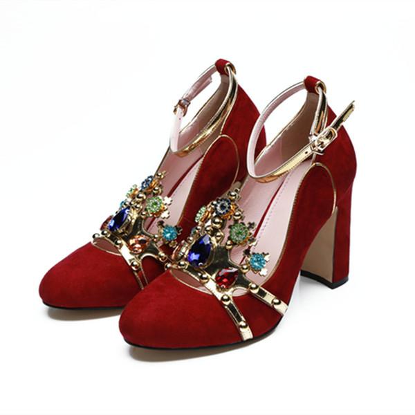 2018 Новый Дизайнер Обувь Роскошные Цветные Горный Хрусталь Корона Мэри Джейн Обувь Блок Каблук Женщина Партия Свадебные Туфли Насосы