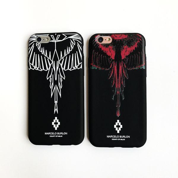 Fashion Designer Phone Case Wing Scrub for IPhone X 6/6S 6plus/6S Plus 7/8 7plus/8plus Brand Print Phone Protection Red White