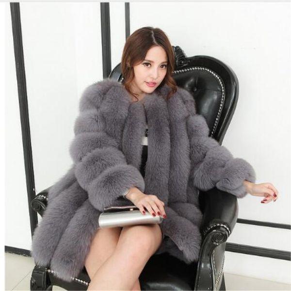 Manteau De Fourrure D'hiver 2018 Nouvelle Imitation De Fourrure De Renard Grass Coudre Manches Manteau Chemise Coréenne Slim Faux Hot Women's