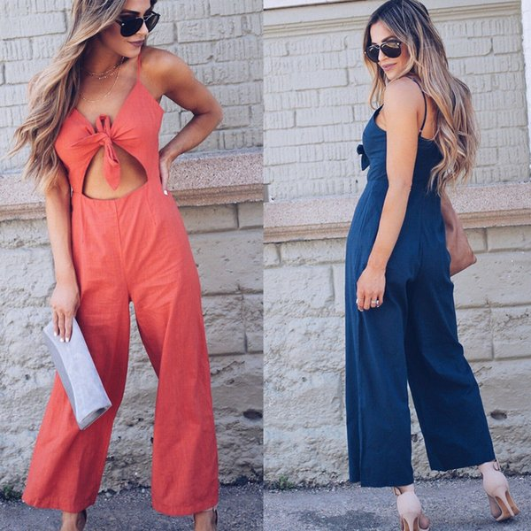 2018 New Women's V-neck Sling Wide Leg Trouser Long Jumpsuit Summer Party Culottes