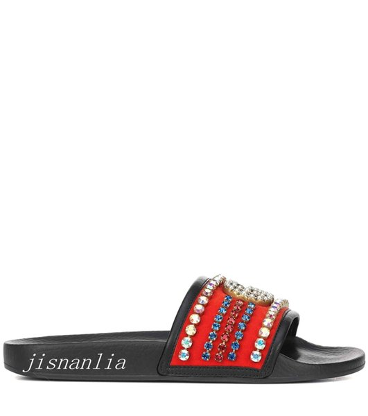 new arrival 2018 mens and womens fashion crystal embellished slide sandals adults causal flat slippers flip flops