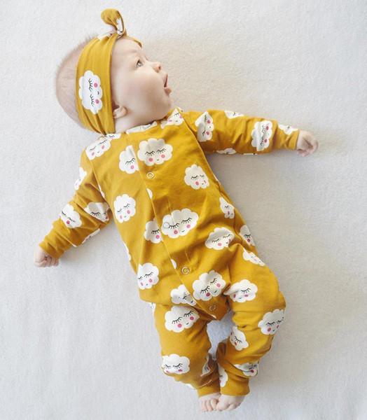 Super Nette Gelbe Wolke Lächeln Infant Neugeborenen Baby Kinder Mädchen Jungen Body Overall Heaband 2 stücke Outfits Kleidung Kostenloser Versand