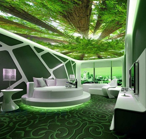 Großhandel Wandkunst Wandbild Wohnzimmer Schlafzimmer Große 3D Bilder Decke  Fresko Tapeten Gemälde Decke Grüne Landschaft Bäume Von Xunxun66, $18.1 ...