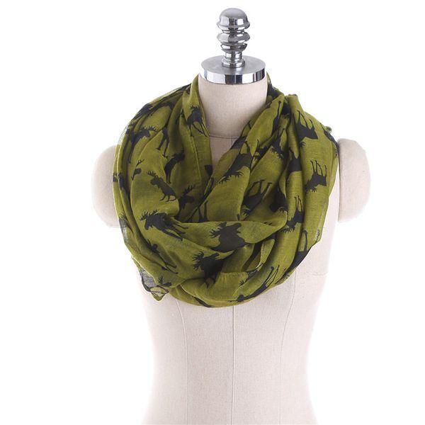 best selling New Moose Infinity Scarf Loop Snood For Women Ladies elk print circle scarves animal deer bandana long scarf for Christmas