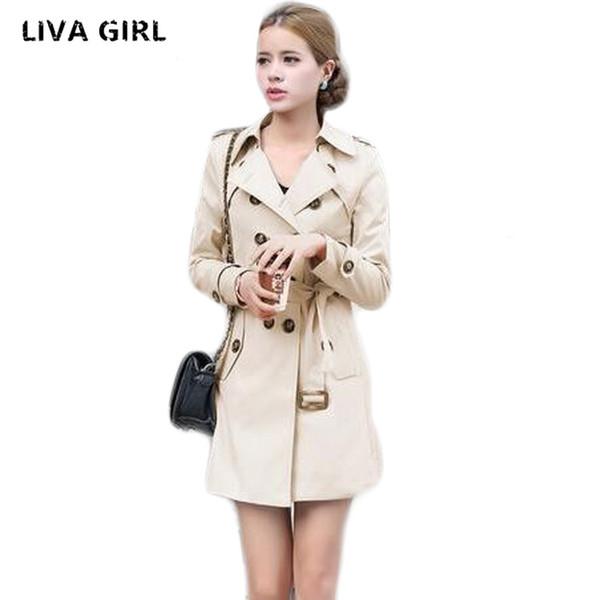 1 STÜCK Trenchcoat Für Frauen Zweireiher Slim Fit Langen Mantel Casaco Feminino Abrigos Mujer Herbst Oberbekleidung S18101303
