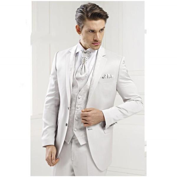 Classic Design Groom Tuxedos Notch Lapel Two Button Groomsmen Excellent Mens Wedding Tuxedos Man 3 Piece Suit(Jacket+Pants+Vest+Tie) 104