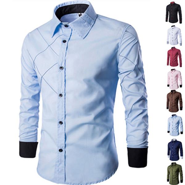 Erkekler Casual İş Düğmeli Resmi Uzun Kollu Izgara Slim Fit Için Şık Lüks Gömlek Üst Donanma Burgun Erkek