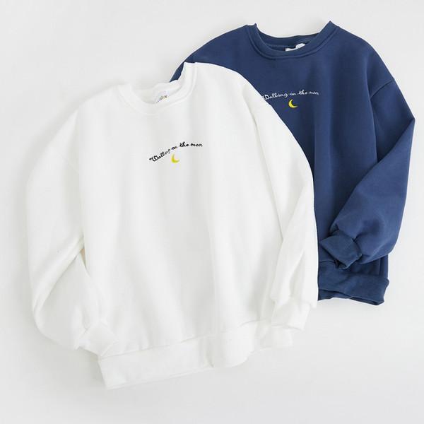 2018 harajuku sweatshirt kadın üstleri kore moda sonbahar boy hoodie kadın kış nakış mektuplar ay trendi hoodies