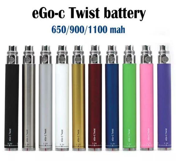 eGo-c Twist Battery Electronic Cigarette Variable Voltage Battery 3.2-4.8V 650mah 900mah 1100mah Vision Spinner eGo Kit