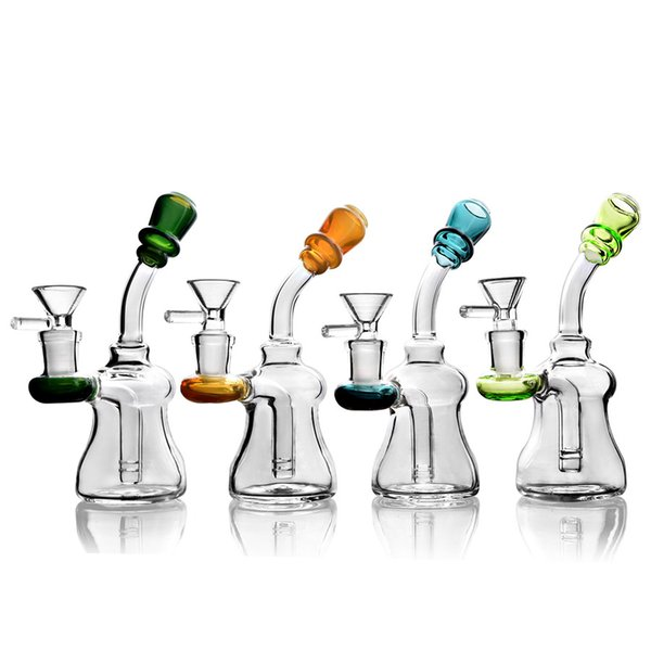 High Quality Colorful MINI beaker bongs glass bongs water pipes smoking pipe oil rigs dab rigs Flared mouthpiece