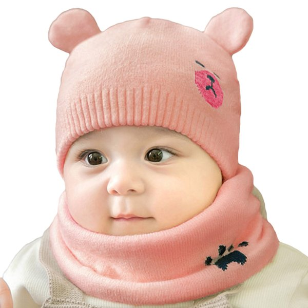 3d78ada35 2019 Set Hat Scarves Cute Baby Newborn Bear Warm Knitted Cap Beanies Child  Kids Protect Ear Boys Girls Winter Hats Scarf Suits From Fwuyun, $37.45 |  ...