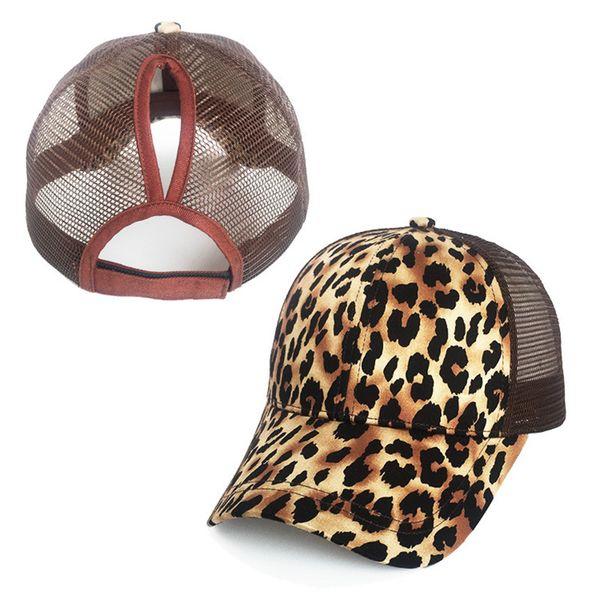 Berretto da baseball per ragazze Ponytail Stampa Leopard Snapback Cappelli Hip Hop Cappello per sole Donna Summer Baseball Baseball Cap Casquette