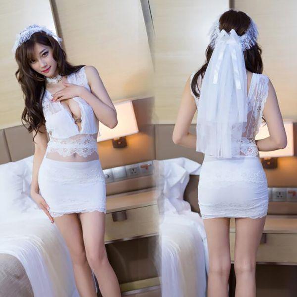 Frauen Porno Spitze Braut Dessous Transparent Sexy Nachtwäsche Weiß Hochzeit Dessous Sexy Cosplay Braut Uniform Mini Enges Kleid