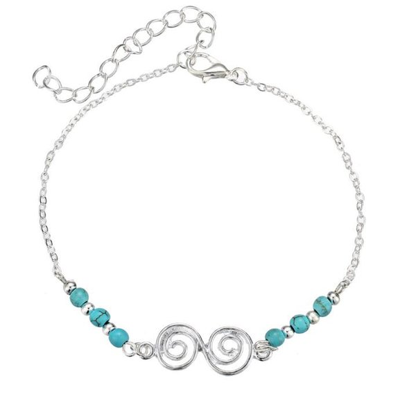 2018 New product selling spiral turquoise anklets spiral women bead Foot ornaments 35