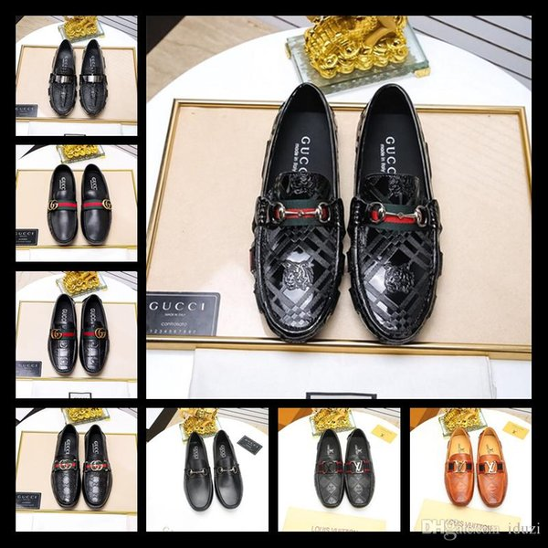 2019 Designer Luxury Fashion Rhinestone Men Wedding Party Dress Shoes Multicolor Pointed Toe Genuine Leather Male Business Shoes 38-45