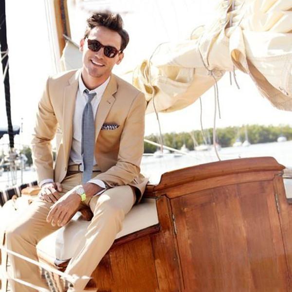 Slim Fit Beige Trajes de boda para hombre Terno Groom Wear Esmoquin 2 piezas (chaqueta + pantalón) Novios trajes Blazer Costumen Homme