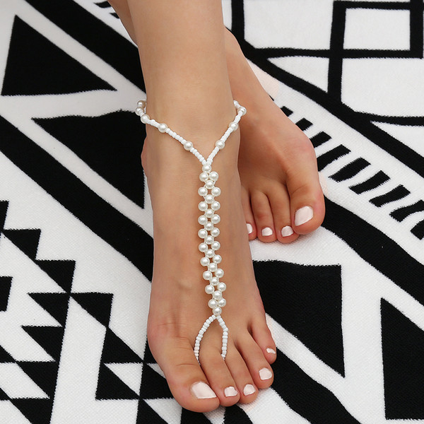 New Sexy Pearl Anklets Beach Fashion Jewelry White Barefoot Sandals Beaded Chain Ankle Bridal Foot Jewelry 12pcs/lot Wedding Accessories