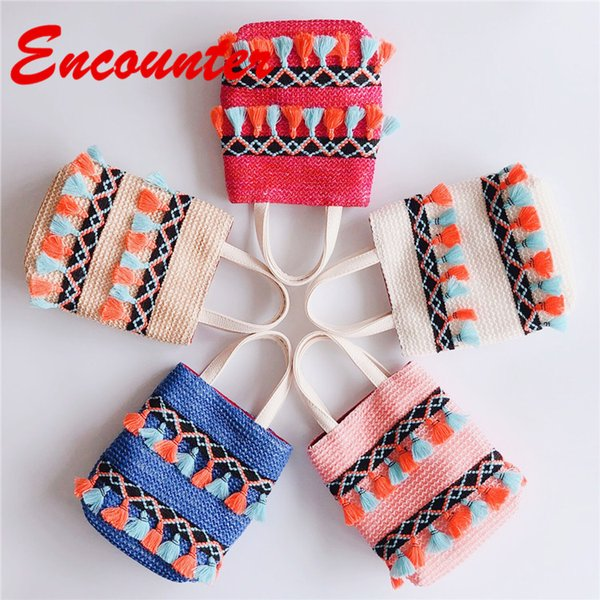 Encounter Summer Stylish Totes for Children Baby girls Small Straw Handbags Little Kids Mini Shoulder Bags Teenagers Lovely coin purse EN124