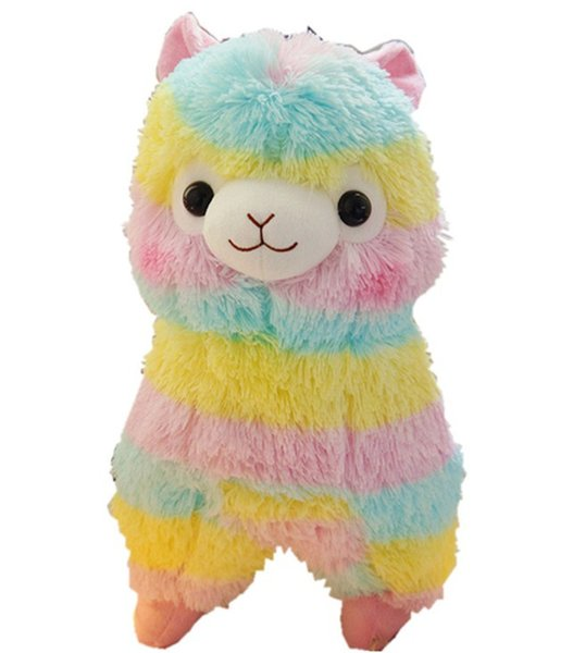 20cm Cute Rainbow Llama Alpacasso Stuffed Doll Kawaii Animal Alpaca Soft Plush Toys for Kids Christmas Birthday Gifts 2 Colors