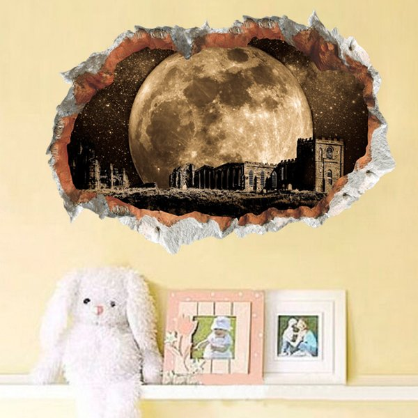 New Universe Super Moon Castle 3D Broken Wall Decal Stickers PVC Removable Creative Pattern Wall Murals for Living Room Boys Room Decoration