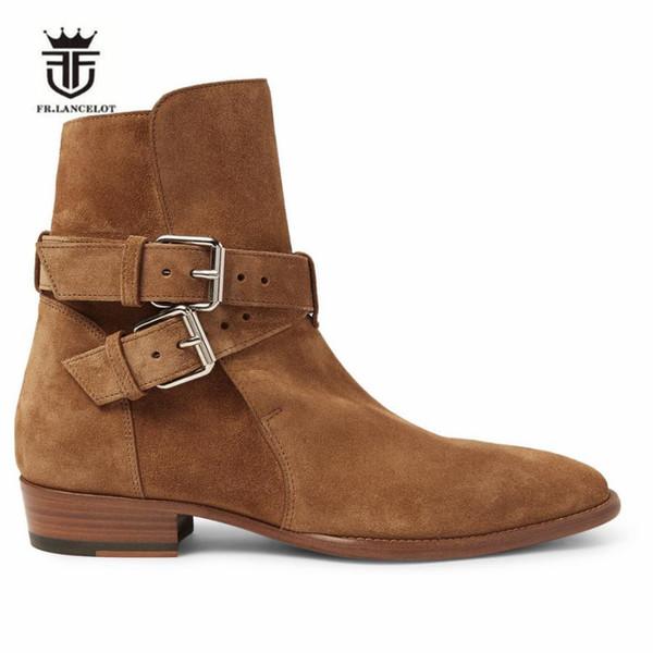 2018 Nuevo alto costo hecho a mano de camello de gamuza de cuero genuino de doble hebilla de la correa de la cuña de los hombres botines del dedo del pie puntiagudo botas de lujo