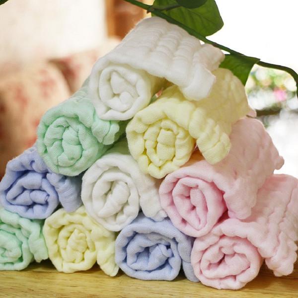 Einfarbig 10PC / LOT das weiche gewaschene Organza Taschentuch Handtuch Neugeborenen Kinder Gesicht Handtuch 100% Baumwolle Musselin SquareTowel
