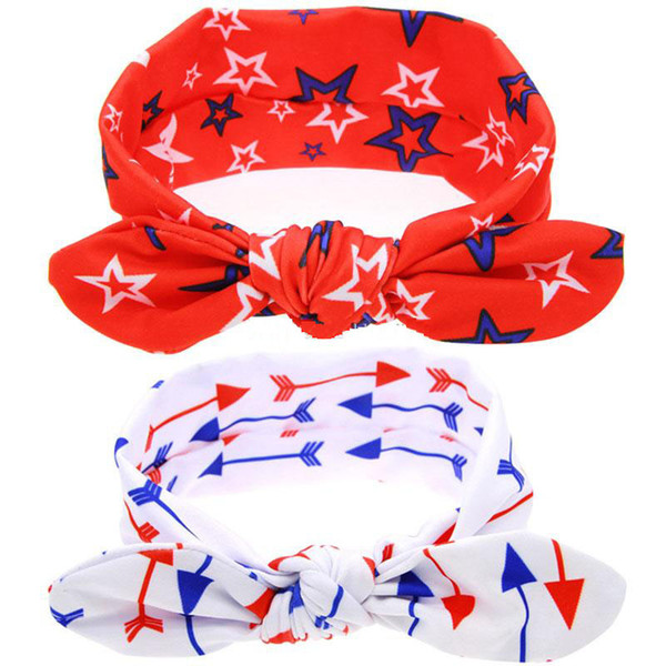 American Independence Day bows Headband Baby Star arrow print Turban Stretch Knotted Hairbands kids Hair Accessories