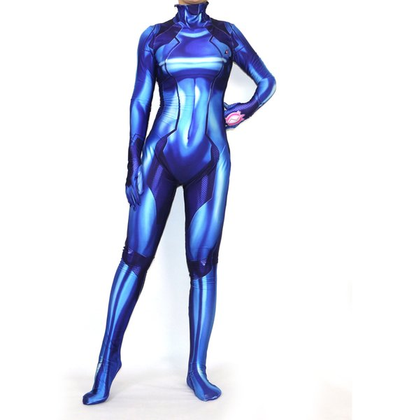 Halloween Blue Samus Zero Female Adult Kids Girl Cosplay Game Moive Anime Costume Party Zentai Jumpsuit Bodysuit Plugsuit Suit Catsuit