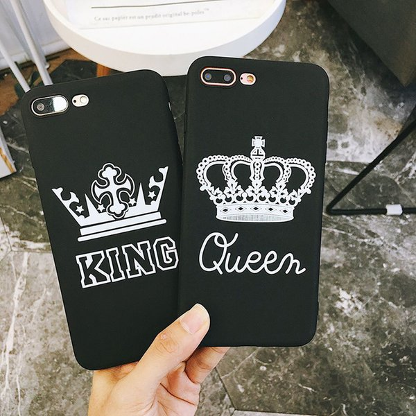 Letter King Queen Couples Phone Case For iphone X Case For iphone 6 6S 7 8 Plus Retro Soft TPU Cover Cartoon Crown Cases
