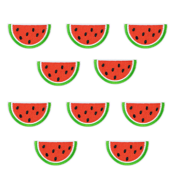 10 PCS Fashion Watermelon Sewing on Stripe Embroidery Patches for Clothing Ironing on Applique Fruit Stripe Patch for Jacket Kids Accessorie