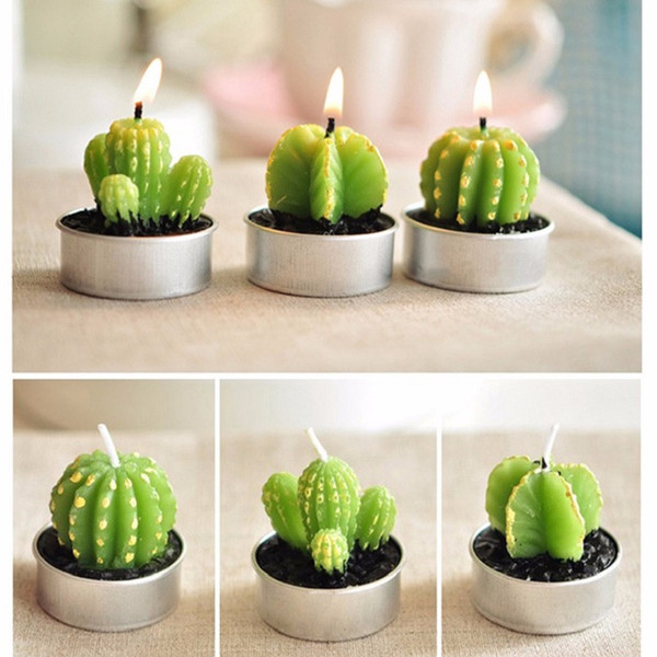 Simulation Cactus Spherical tree Shape Ornaments Home Furnishing Scented Romantic Candle Tea Table Light Garden Decor