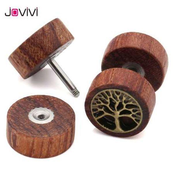 JOVIVI 16Ga Sono Wood Tree Of Life Fake Cheater Fake Ear Plug Body Jewelry Fake Ear Expander Flesh Tunnel Barbell Tragus Earring
