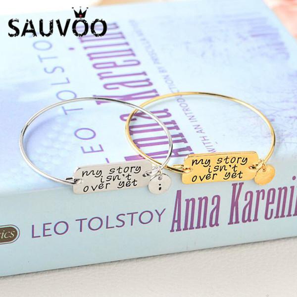SAUVOO 1Pcs My Story Isn't Over Yet Adjustable Charm Bangles Bracelet For Women Gold Silver Color Inspirational Bracelet Gifts